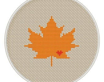 Maple leaf with heart Сross stitch pattern small size, cross stitch pattern in PDF format, Instant Download, needlepoin, MCS066(small size)