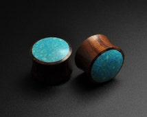 Turquoise Stone Wood Plugs | Sono Wood Plugs with Crushed Turquoise Inlay | Handmade Plugs & Tunnels from Stretch It Body Jewellery