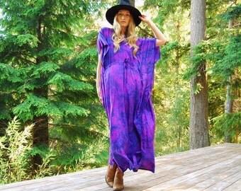 70s India Silk Caftan Dress, Tie Dye Summer Boho Maxi Dress, Marbled Pink + Purple Indian Silk Dress, Vintage Hippie Festival Dress MuuMuu