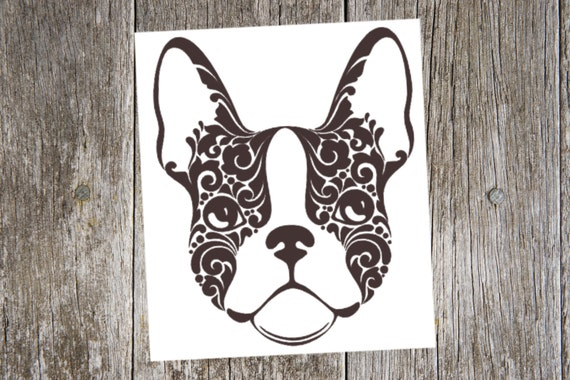 Boston Terrier V Tribal Dog Breed Custom Die Cut Vinyl - Custom vinyl decals boston