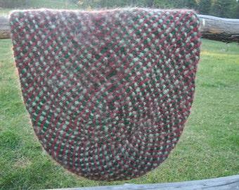 Felted wool roving rug 8 strand braid
