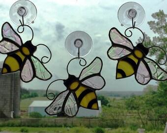 Handmade Stained Glass Bee Suncatcher