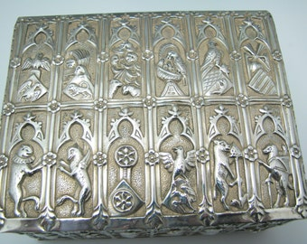 Vintage Sterling Silver Embossed Trinket Box