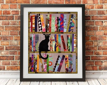Literary gift, Bibliophile, Book Lover Art, Book Lover Gift, Reading Art Print, Library Art Print, Cat lover art, bookworm art