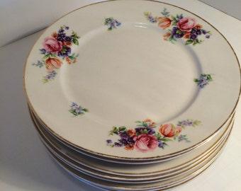 Set of 8 Vintage Dessert or Salad Plates, Pink Floral Design with Gold Trim, China, Porcelain, Shabby Chic