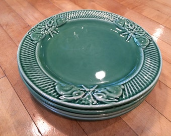 """Set of 4 Green Majolica 8"""" Plates w/ Rabbits from Portugal by Bordallo Pinheiro, Easter, Salad Plates, Dessert Plates, Luncheon Plates, Cake"""