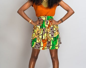 """Mini skirt in wax"" Christian orange, orange """