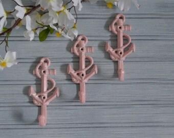Anchor Hook. Set of 3 Pink Anchor Hooks. Towel, Key, Hat, Coat Wall Hook. Nautical, Beach, Pool, Coastal, Cottage Chic, Shabby