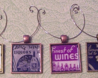 Four wine charms vintage matches matchbooks