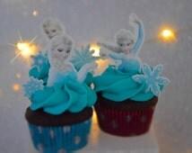 24 frozen cupcake topper, precut, edible,  Cupcake Topper, edible edible topper, frozen theme party,