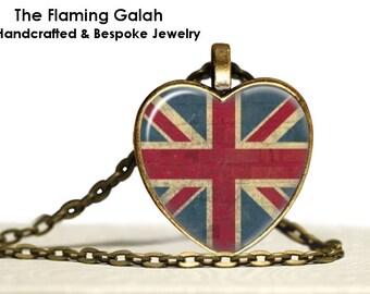 UNION JACK Flag Pendant • Vintage Union Jack • Heart Shaped Union Jack • Great Britain • UK • Gift Under 20 • Made in Australia (P0478)