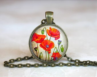 REMEMBRANCE POPPY Pendant •  Anzac Poppy •  Red Flower •  Poppy Jewelry • Gift Under 20 • Made in Australia (P0217)