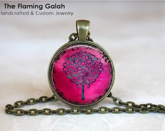 PINK TREE Of LIFE Pendant •  Pink Tree of Life •  Tree of Life Jewellery •  Pink Spiritual • Gift Under 20 • Made in Australia (P0381)
