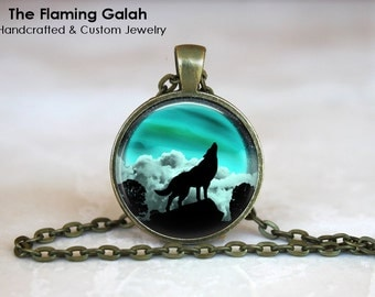 HOWLING WOLF in the MOONLIGHT Pendant • Wolf Silhouette • Wolf Shadow • Green Moonlight • Gift Under 20 • Made in Australia  (P1119)