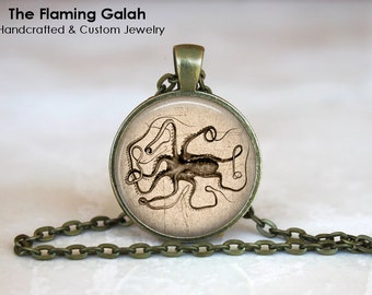 GIANT SQUID Pendant • Vintage Sea Creature • Octopus • Vintage Nautical • Sailor • Nautical Steampunk • Made in Australia (P1144)