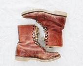 Vintage Santa Rosa Brand Distressed Leather Combat Work Boots size 8.5