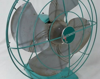 As is Retro dominion seafoam green 2 speed oscillating fan vintage green turquoise motor needs repair