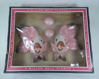 Vintage Pink ceramic fish Miller studios wall plaques mid century bathroom decor retro New in the box