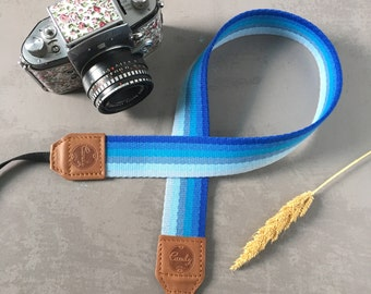 Triple Blue Mix DSLR camera strap, Camera Strap, leather camera Strap ,Gift for her