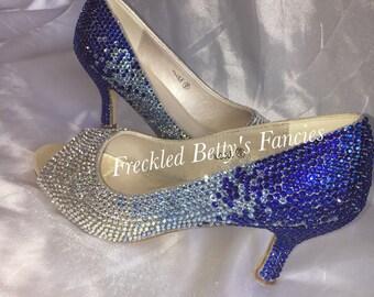 Ombre Crystal, wedding heels, custom shoes, blue, silver