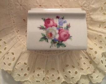 Hausmann West Germany Porcelain Rose Business Card Holder Place Card Holder