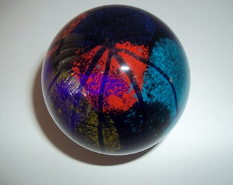 VINTAGE GLASS PAPERWEIGHT Multi Color Paperweight Desk Accessory