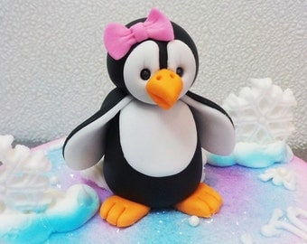 Penquin Fondant Cake Topper 1st Birthday Baby Shower Winter Wonderland