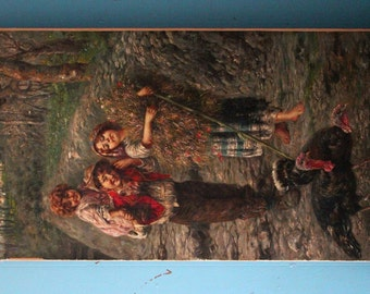 Country Children and Turkeys  Oil Painting Walking Along Path