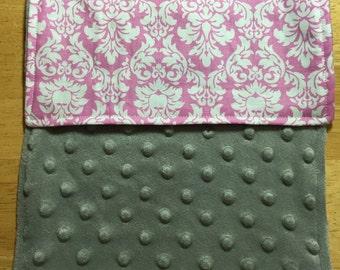 Minky Burp Rag - Pink Damask with Grey Minky