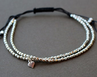 Beaded Bracelet, Womens silver bracelet, Minimalist Beaded Bracelet, Silver Friendship Bracelet, Gift for Her, Boho Chic Silver Bracelet