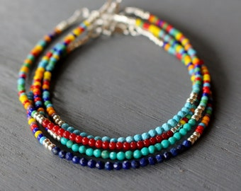 Turquoise bracelet, coral bracelet, lapis bracelet, boho chic beaded bracelets, skinny beaded bracelets, dainty gemstone bracelets