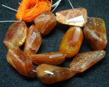 """The Most Beautiful Natural SUN STONE Gemstone 14-19mm size Step Cut Tumble  8"""" inches Long strand at Wholesale Price"""