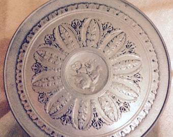 Vintage Round Metal Cookie or Fruit Tin