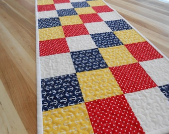 Quilted Table Runner, Summer Table Runner, Nautical Table Mat, Beach Decor, Item #261