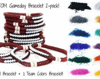 Football Team Colors Bracelet Set of 2, School Colors Bracelets, Team Spirit Jewelry, Gameday Jewelry, Football Mom Jewelry, Cheerleader