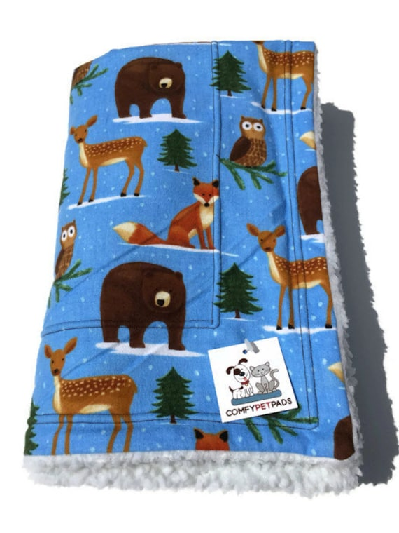 Blue bear fox deer blanket dog bedding mountain gifts for Mountain crib bedding