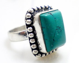 Turquoise stone 925 Sterling Silver Overlay Ring, partywear ring, Rectangle shape ring , gemstone ring