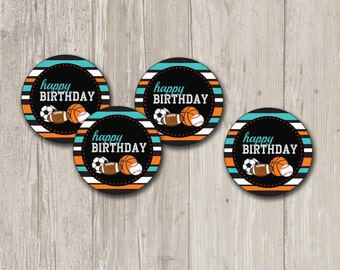 Sports Party, Cupcake Toppers, Stickers, Party Circles | Printable