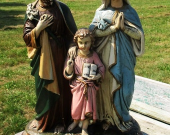 Very large Antique Statuette Holy Family Joseph Virgin Mary Infant Child Plaster