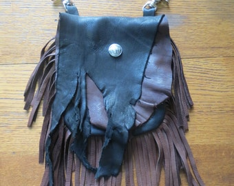 Rustic Deerskin Belt Loop Hip Bag, Black and Chocolate with Fringe