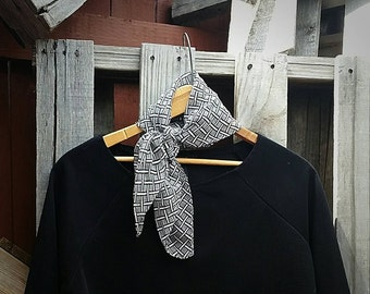 Vintage 1950s Black and White Checkered Silk Scarf