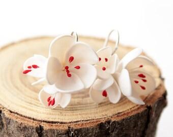 Cherry blossom earrings, Sterling silver 925, white flower, Bridal earrings, sakura, romantic earring, gift for her; jasmine earrings
