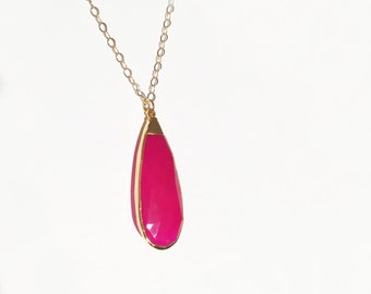 18kt Gold Hot Pink Chalcedony Gold Filled Necklace