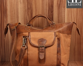 LECONI-LAN bag shoulder bag lady bag natural leather bag of canvas leather cognac LE0043-C