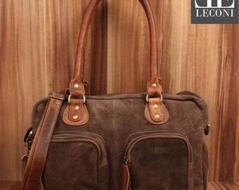 LECONI shoulder bag handbag Tote shoulder bag women's suede leather dark brown LE0046-VL