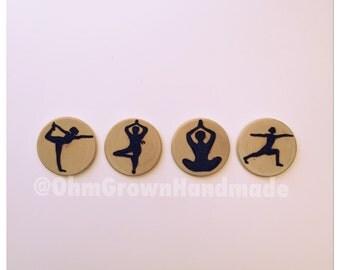 Yoga pose magnets set of four YOGI yoga poses stretching