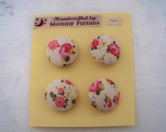 Vintage D&G Floral Fabric Covered Buttons