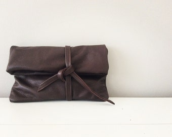 Chocolate brown leather clutch