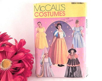 Disney Princess Dress Pattern Belle Snow White Cinderella McCalls Costumes 8895 Girls SZ CJ 10-14 Halloween Costume Witch Rupunzal VTG 1997