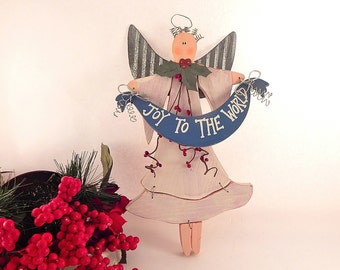 Folk Art Angel Wall Hanging Joy to the World Sign Handpainted Wood and Metal Rustic Christmas Decoration